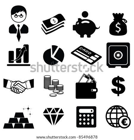 Set of finance & banking icons -Silhouettes