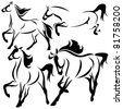 set of fine horses outlines - vector collection - stock vector