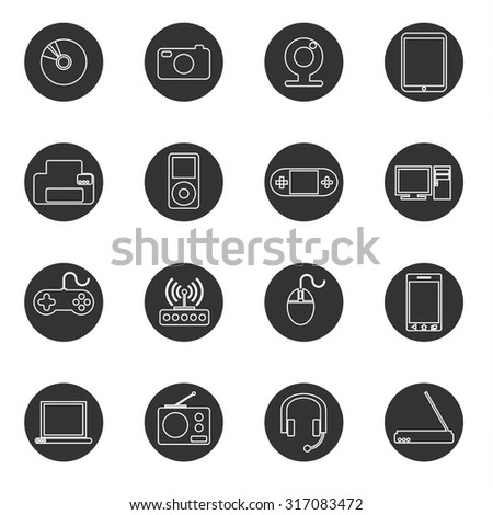 Set of 16 fine line flat icons of computers, laptops, printer, mobile phones, radio, mouse and other gadgets