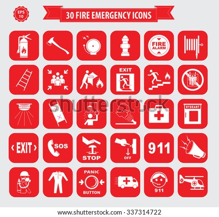 Set of Fire Emergency Icon or Fire Emergency Alarm (fire alarm, break glass, press here, fire exit, for emergency use only, emergency exit, ladder, fire blanket, ambulance, fire extinguisher) - stock vector