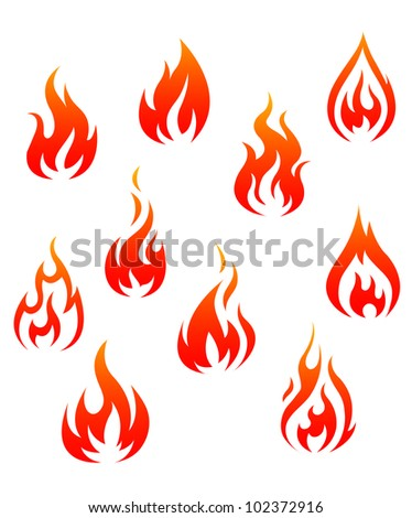 Set of fire flames isolated on white background as warning symbols. Jpeg version also available in gallery - stock vector
