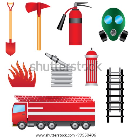 Set of fire prevention objects on the white background. - stock vector