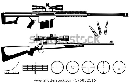 Set of firearms sniper rifles and targets - stock vector