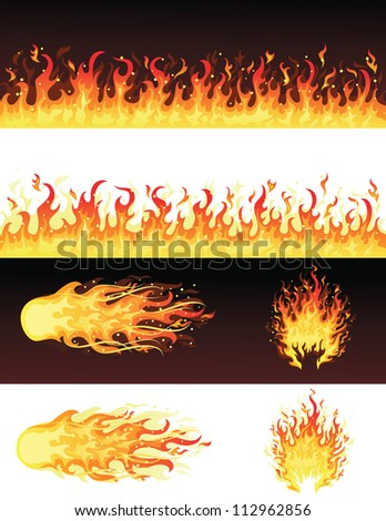 Set of fires. - stock vector