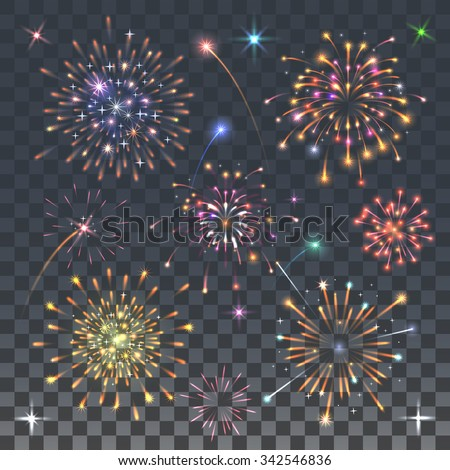 set of fireworks - stock vector