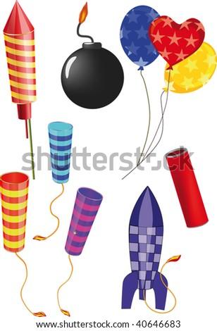 set of fireworks - stock vector