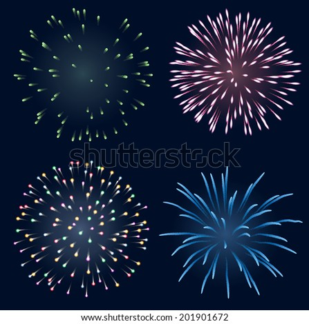 Set of fireworks, EPS 10 contains transparency. - stock vector