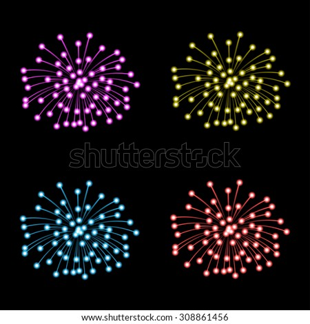 Set of fireworks on black background. Illustration, Vector EPS10 - stock vector