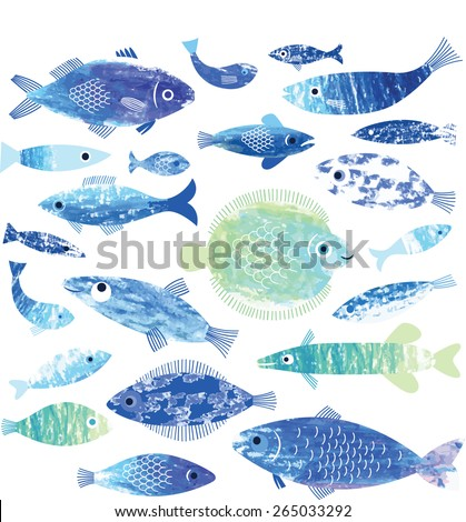set of fish art - stock vector