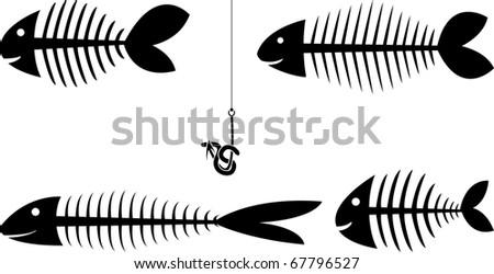 set of fish skeletons. vector illustration - stock vector