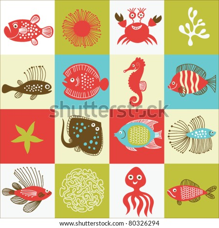 set of fishes and marine life - stock vector