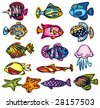 Set of fishes, vector - stock vector