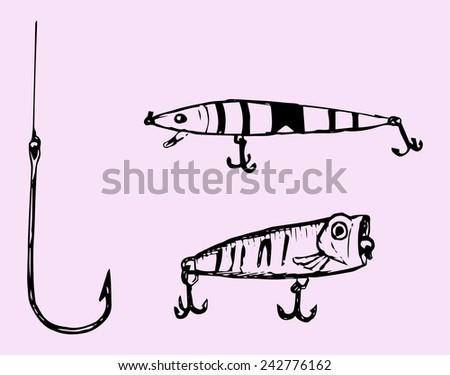 set of fishing hooks, vector - stock vector