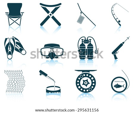 Set of fishing icons. EPS 10 vector illustration without transparency. - stock vector