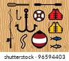 Set of Fishing Icons. Life Vests, Fish, Fishing Pole, Hooks, Paddles, Bobber and Paddles. - stock vector