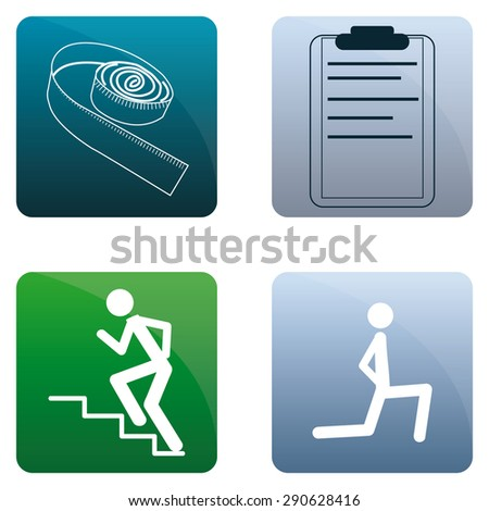 Set of fitness icons on different colored backgrounds. Vector illustration