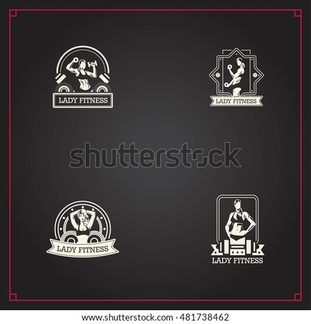 Set of 4 Fitness women logo or badge vintage designs