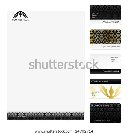 Set of five black and gold floral damask business cards and stationery sheet - stock vector