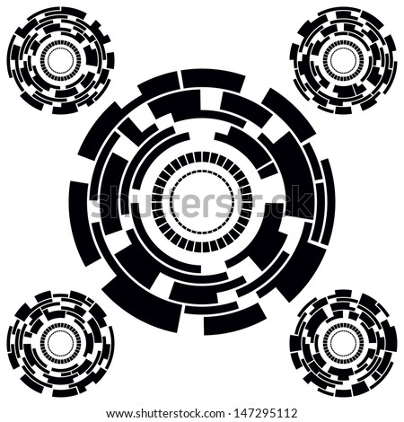 Set of Five Black and White Futuristic Circle Charts. Vector Illustration - stock vector