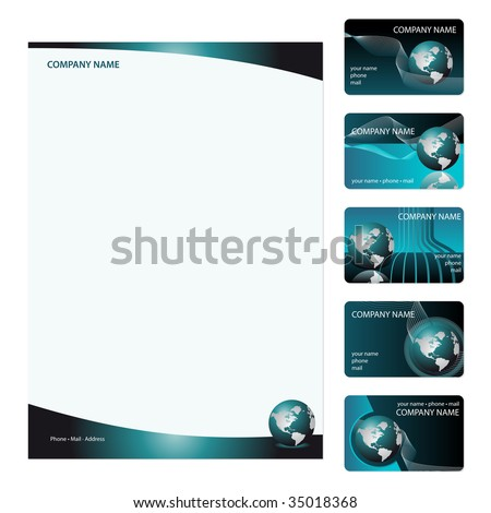 Set of five blue business cards and stationery sheet. Global Swatches Included. - stock vector