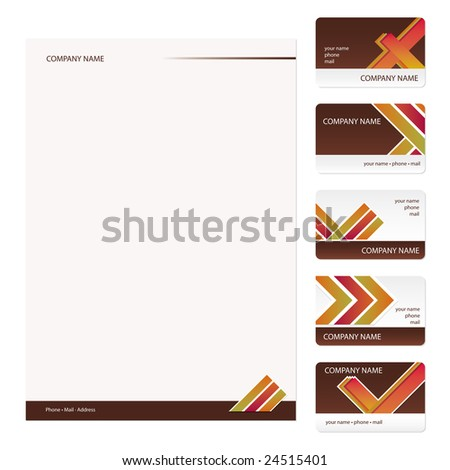 Set of five brown and white vintage business cards and stationery sheet - stock vector