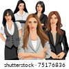 Set of five Business women - stock vector