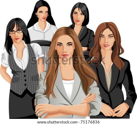 Set of five Business women - stock vector