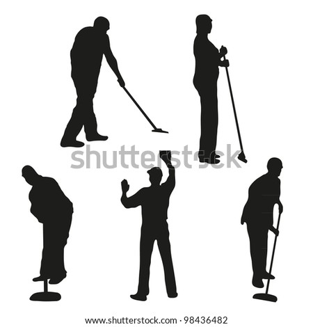 Set of five cleaners - stock vector