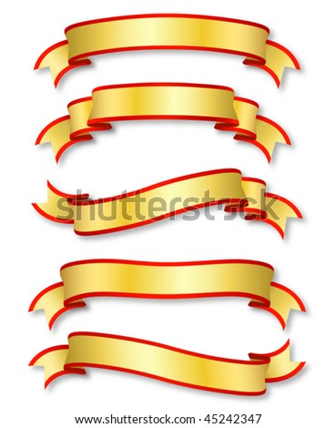 set of five curled golden ribbons, illustration - stock vector