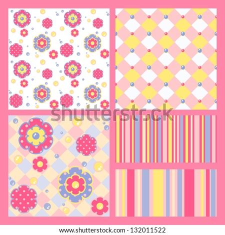 Set of five cute similar patterns. Vector illustration for your design