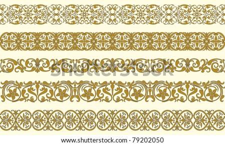 Set of five decorative borders ornamental in editable vector file - stock vector