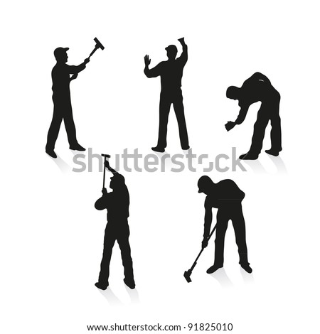 Set of five different cleaners - stock vector