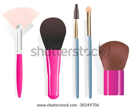 Set of five different make-up brushes. Linear and radial gradients only. - stock vector