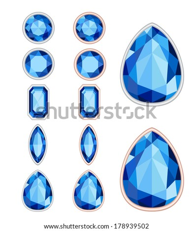 set of five forms of sapphire cut and two kinds of frames (silver and gold). EPS 10. No transparency. No gradients. - stock vector