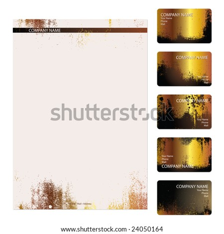 Set of five gold grunge business cards and stationery sheet - stock vector