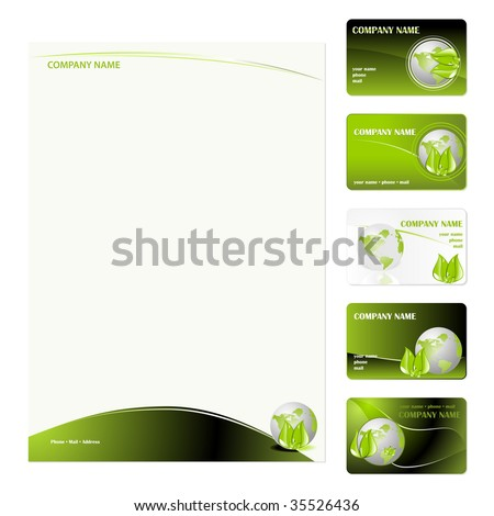 Set of five green planet business cards and stationery sheet. Global Swatches Included. - stock vector