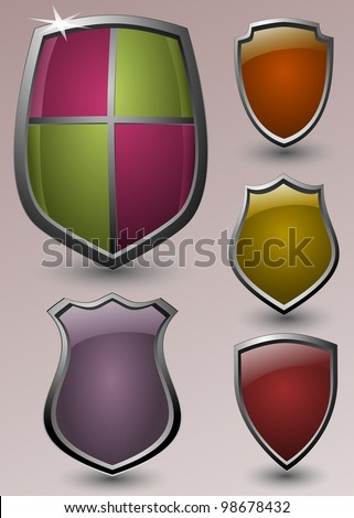 set of five knights' shields on gradient background - stock vector