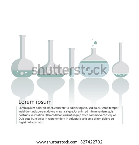 Set of five medical science flat icon tubes