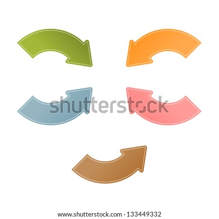 Set of five modern blank stitched arrows / bend stitch arrow - stock vector