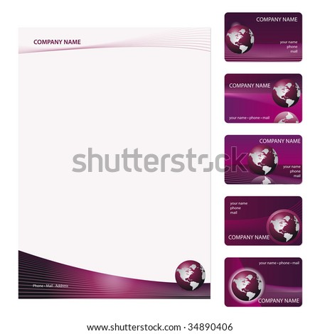 Set of five purple business cards and stationery sheet. Global Swatches Included. - stock vector