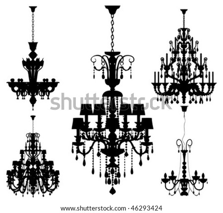 Set of five silhouettes of luxury chandeliers - stock vector