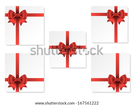 set of five square cards with red gift bow with ribbons, vector
