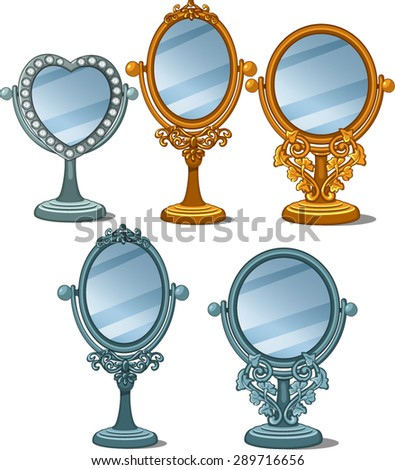 set of five vintage mirrors - stock vector