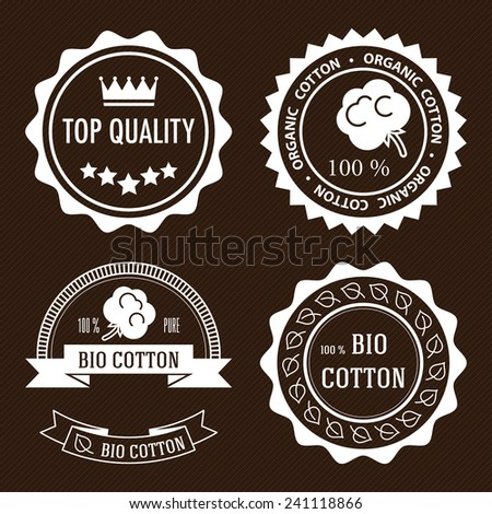 Set of five white flat organic cotton and quality labels. - stock vector