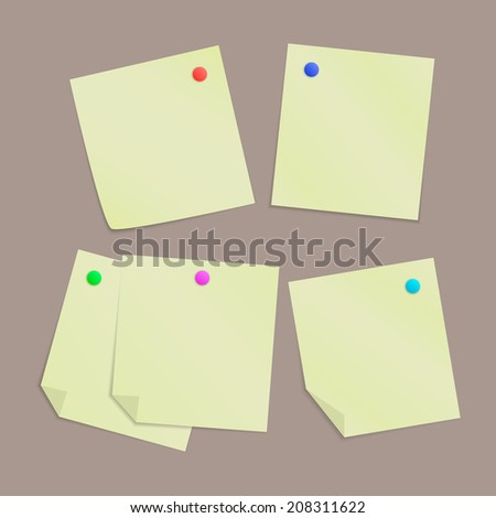 Set of five yellow blank paper notes with pinned office pins. Different position, isolated on brown background. Vector illustration, eps 10.