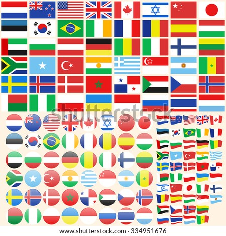 Set of flag icons, flat style circle waving flags - vector illustration - stock vector