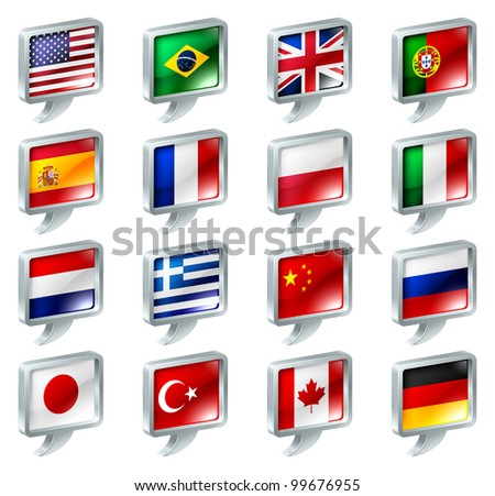 Set of flag speech bubble icons buttons; great for anything related to languages; regions or translation; or country specific web forum sections.