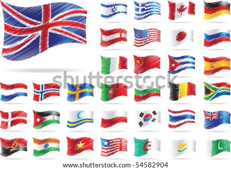 Set of flags. All elements and textures are individual objects. Vector illustration scale to any size - stock vector