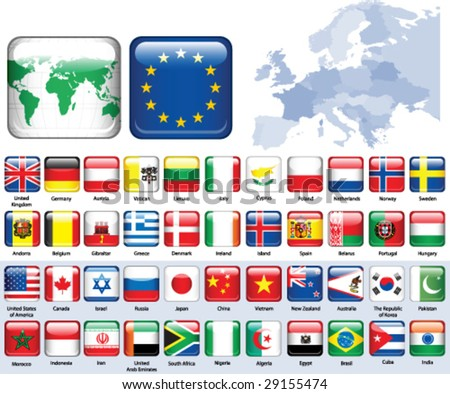 Set of flags. Glossy buttons. - stock vector