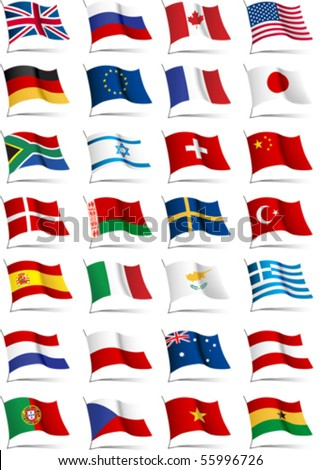 Set of flags. Glossy buttons. All elements and textures are individual objects. Vector illustration scale to any size - stock vector